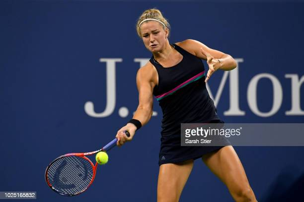 Karolina Muchova of Czech Republic plays a forehand during the women's singles third round match against Garbine Muguruza of Spain on Day Three of...