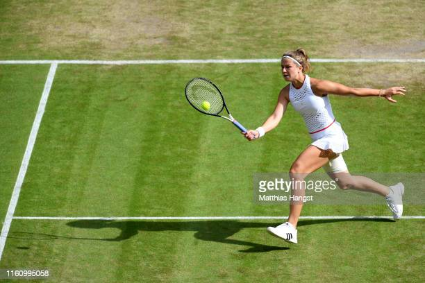 Karolina Muchova of Czech Republic plays a forehand in her Ladies' Singles Quarter Final match against Elina Svitolina of Ukraine during Day Eight of...