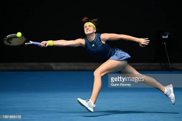 Karolina Muchova of Czech Republic plays a forehand in her Women's Singles third round match against Karolina Pliskova of Czech Republic during day...