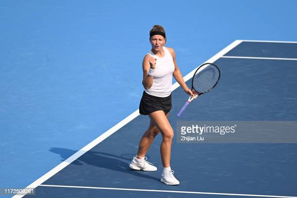Karolina Muchova of Czech Republic reacts against Madison Keys of the United States Republic during the women's singles first round match of 2019...
