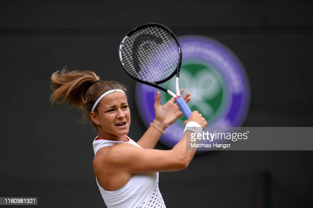 Karolina Muchova of Czech Republic returns the ball in her Ladies' Singles Quarter Final match against Elina Svitolina of Ukraine during Day Eight of...
