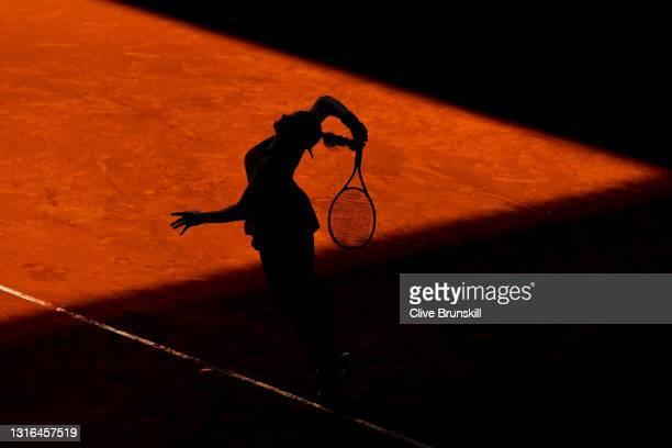 Karolina Muchova of Czech Republic serves during her quarterfinal match against Anastasia Pavlyuchenkova of Russia during day seven of the Mutua...