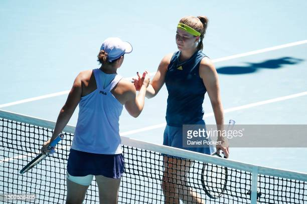 Karolina Muchova of the Czech Republic and Ashleigh Barty of Australia embrace following their Women's Singles Quarterfinals match during day 10 of...