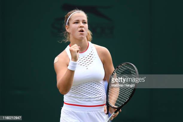 Karolina Muchova of The Czech Republic celebrates in her Ladies' Singles third round match against Anett Kontaveit of Estonia during Day five of The...