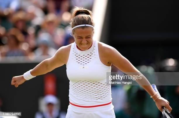 Karolina Muchova of The Czech Republic celebrates in her Ladies' Singles fourth round match against Karolina Pliskova of The Czech Republic during...