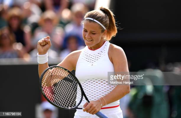 Karolina Muchova of The Czech Republic celebrates victory in her Ladies' Singles fourth round match against Karolina Pliskova of The Czech Republic...