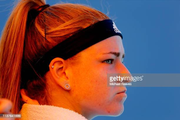 Karolina Muchova of the Czech Republic looks on during her match against Angelique Kerber of Germany during Day 5 of the Miami Open Presented by Itau...