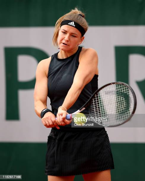 Karolina Muchova of The Czech Republic plays a backhand during her ladies singles second round match against IrinaCamelia Begu of Romania during Day...