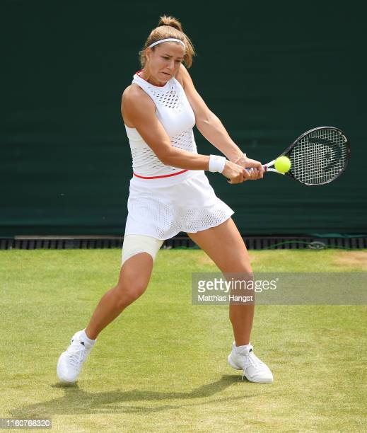 Karolina Muchova of The Czech Republic plays a backhand in her Ladies' Singles fourth round match against Karolina Pliskova of The Czech Republic...