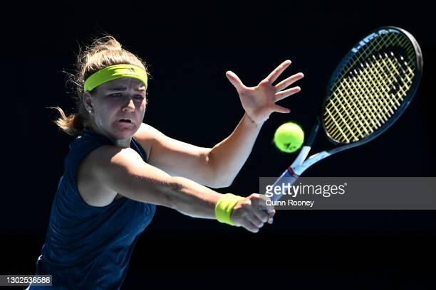 Karolina Muchova of the Czech Republic plays a backhand in her Women's Singles Quarterfinals match against Ashleigh Barty of Australia during day 10...
