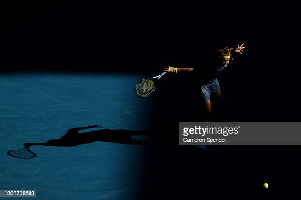Karolina Muchova of the Czech Republic plays a backhand in her Women's Singles Semifinals match against Jennifer Brady of the United States during...