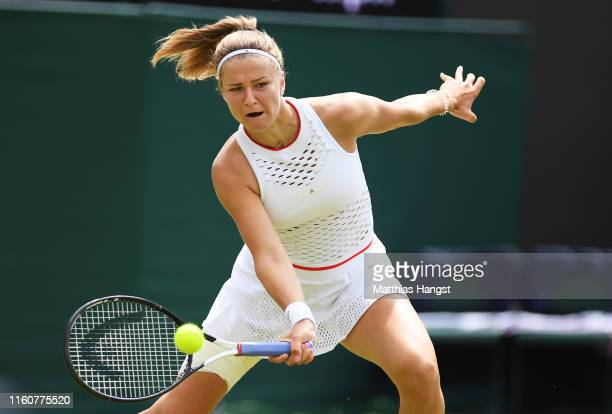 Karolina Muchova of The Czech Republic plays a forehand in her Ladies' Singles fourth round match against Karolina Pliskova of The Czech Republic...