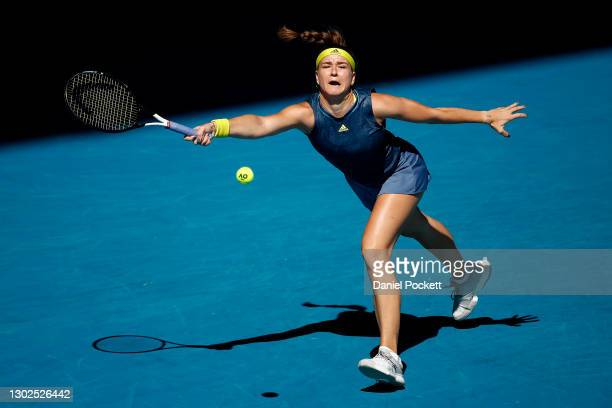 Karolina Muchova of the Czech Republic plays a forehand in her Women's Singles Quarterfinals match against Ashleigh Barty of Australia during day 10...