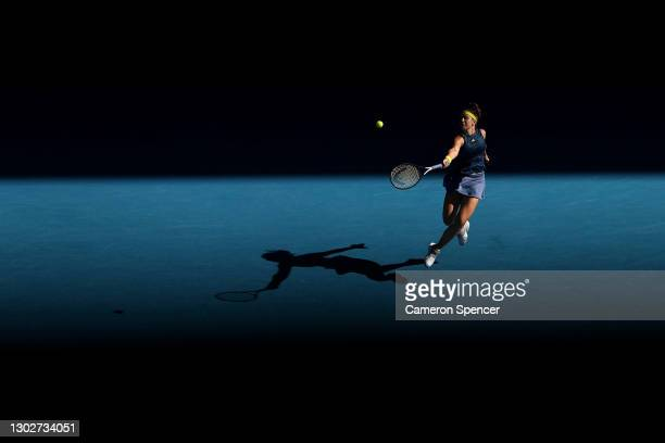 Karolina Muchova of the Czech Republic plays a forehand in her Women's Singles Semifinals match against Jennifer Brady of the United States during...