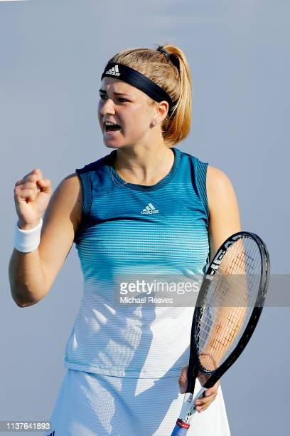 Karolina Muchova of the Czech Republic reacts after a point during her match against Angelique Kerber of Germany during Day 5 of the Miami Open...