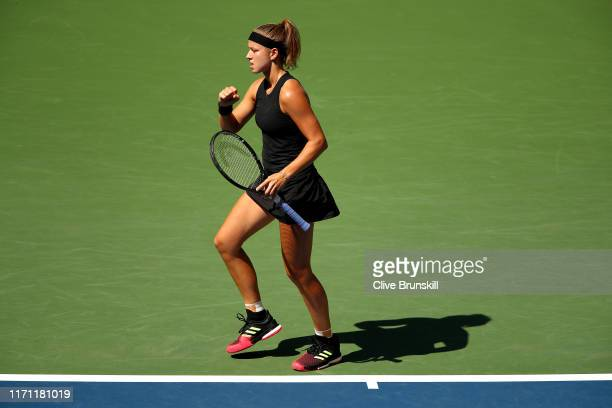 Karolina Muchova of the Czech Republic reacts during her Women's Singles round three match against Serena Williams of the United States on day five...