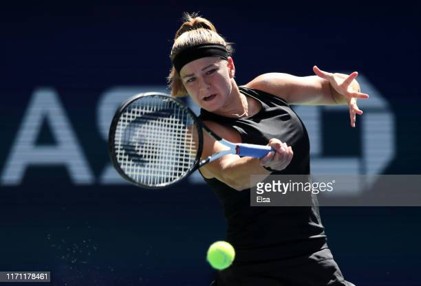 Karolina Muchova of the Czech Republic returns a shot during her Women's Singles round three match against Serena Williams of the United States on...