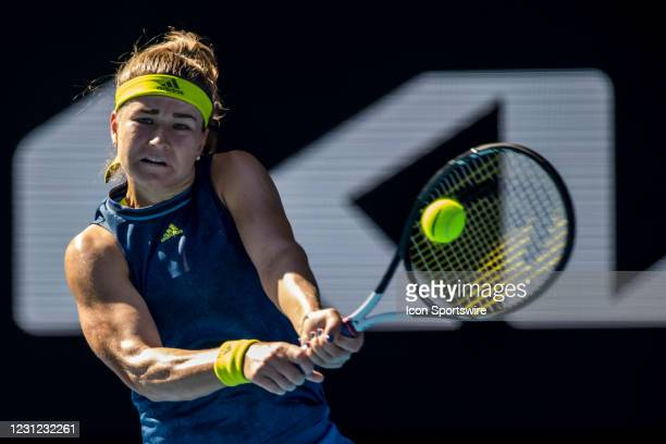 Karolina Muchova of the Czech Republic returns the ball during the semifinals of the 2021 Australian Open on February 18 2021, at Melbourne Park in...