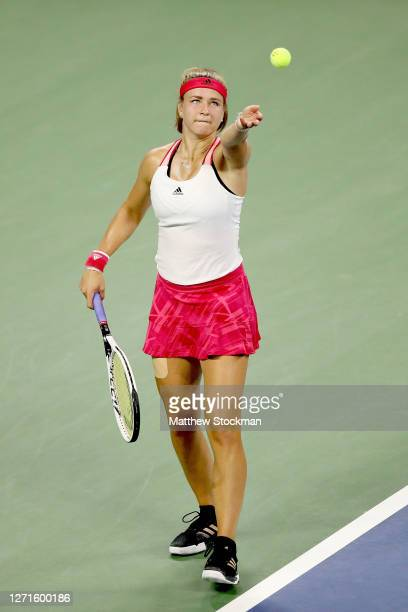 Karolina Muchova of the Czech Republic serves during her Women's Singles fourth round match against Victoria Azarenk of Belarus on Day Eight of the...