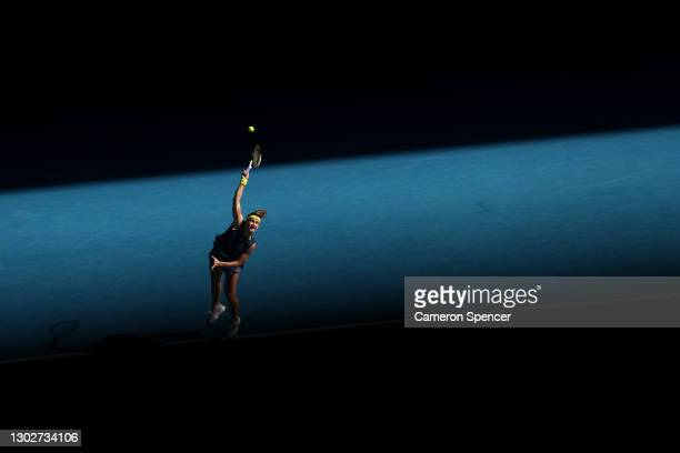 Karolina Muchova of the Czech Republic serves in her Women's Singles Semifinals match against Jennifer Brady of the United States during day 11 of...