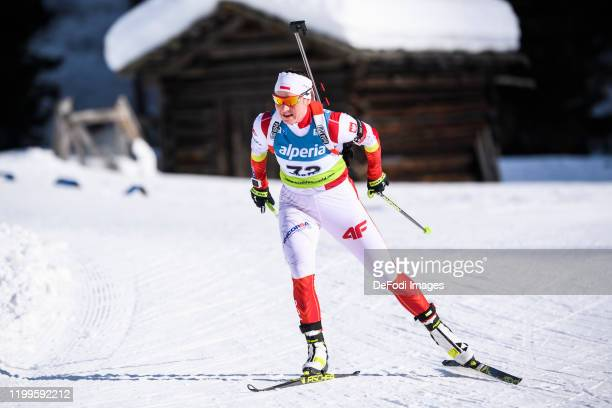 Karolina Piton of Poland in action competes during the Women 7.5 km Sprint Competition of the IBU Cup Biathlon Martell-Val Martello on February 8,...