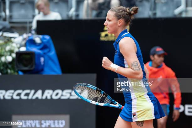 Karolina Pliskova celebrates in her Women Final match against Johanna Konta during Internazionali BNL D'Italia Italian Open at the Foro Italico Rome...