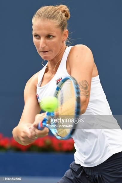 Karolina Pliskova in action during the quarter final match against Bianca Andreescu on August 9 2019 at Aviva Centre in Toronto ON
