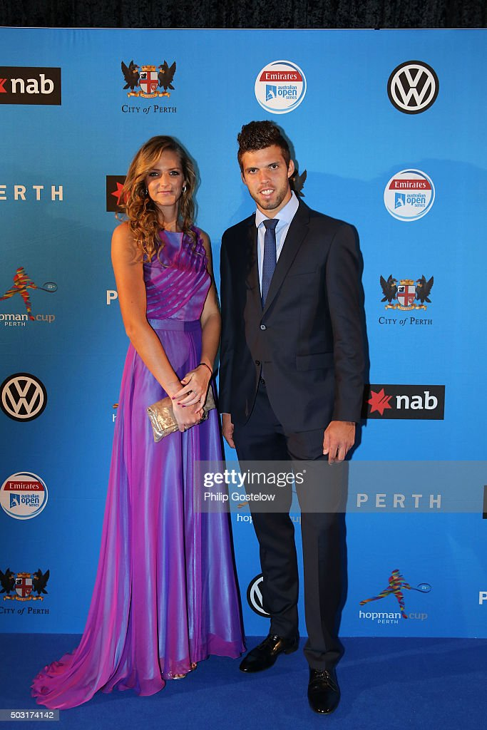 Karolina Pliskova & Jiri Vesely (together representing Czech Republic) arrives at the 2016 Hopman Cup Player Party at Perth Crown on January 2, 2016 in Perth, Australia.