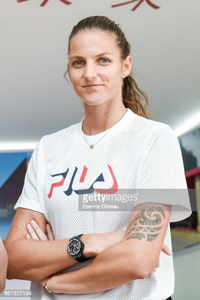 Karolina Pliskova of Czech Repubic attends an event at the Harvest fund booth on day five of the 2017 China Open at the China National Tennis Centre...