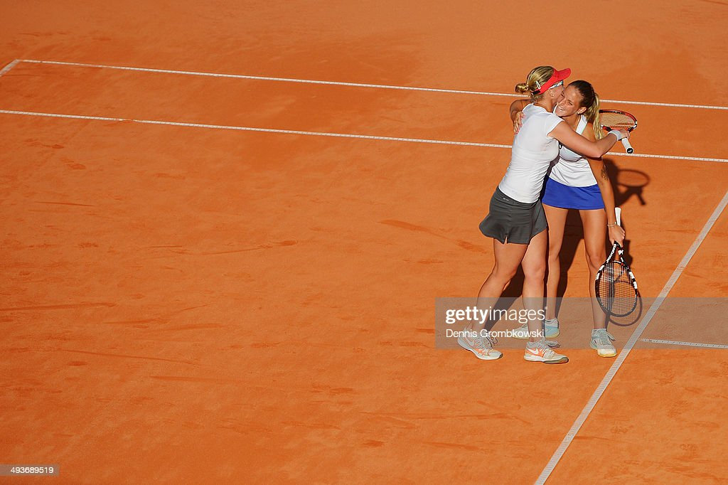 Karolina Pliskova of Czech Republic and Michaella Krajicek of Netherlands celebrate after winning the doubles competition during Day 8 of the Nuernberger Versicherungscup on May 24, 2014 in Nuremberg, Germany.
