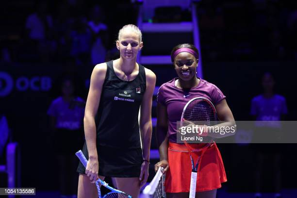 Karolina Pliskova of Czech Republic and Sloane Stephens of United States before the Womens Singles semifinal match against on day 7 of the 2018 BNP...