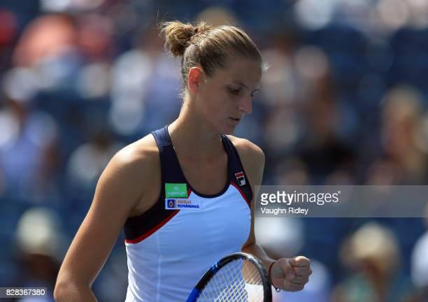 Karolina Pliskova of Czech Republic celebrates a point against Anastasia Pavlyuchenkova of Russia during Day 5 of the Rogers Cup at Aviva Centre on...