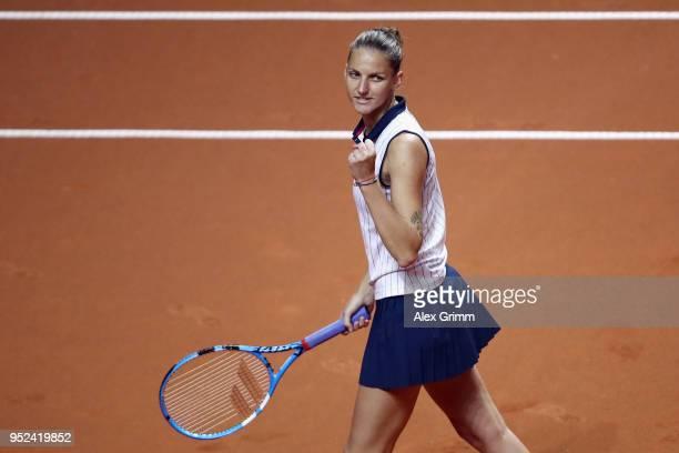Karolina Pliskova of Czech Republic celebrates after winning her match against Anett Kontaveit of Estonia during day 6 of the Porsche Tennis Grand...
