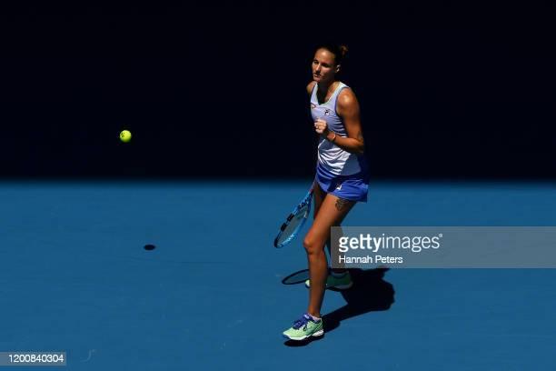 Karolina Pliskova of Czech Republic celebrates after winning match point during her Women's Singles first round match against Kristina Mladenovic of...