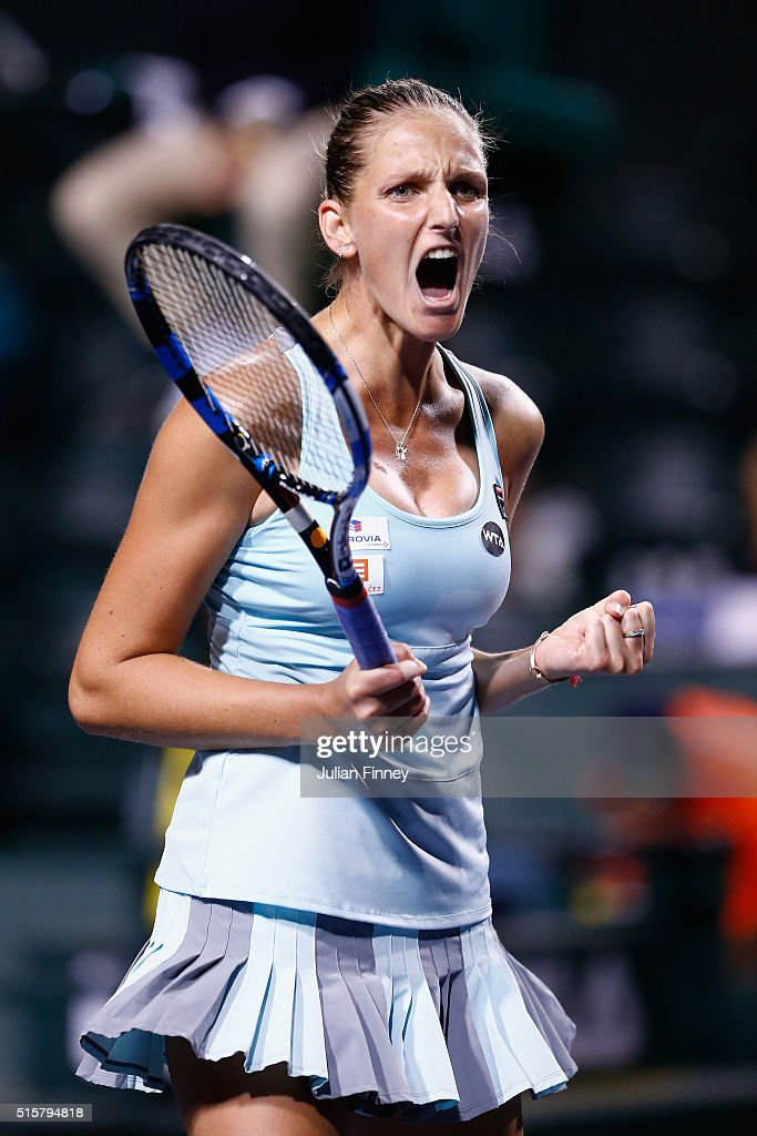 Karolina Pliskova of Czech Republic celebrates defeating Johanna Konta of Great Britain during day nine of the BNP Paribas Open at Indian Wells Tennis Garden on March 15, 2016 in Indian Wells, California.