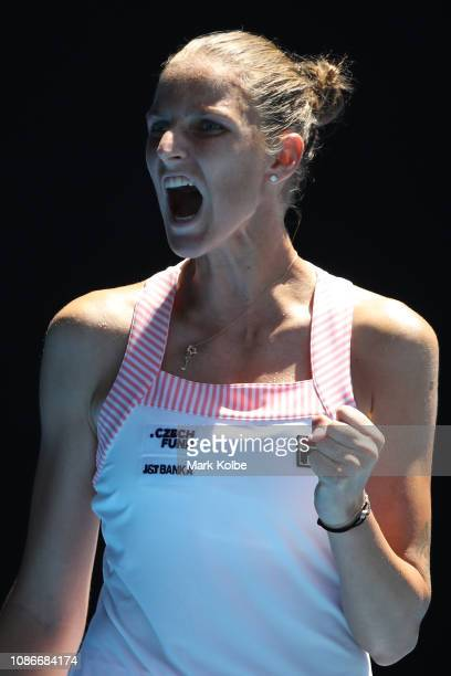 Karolina Pliskova of Czech Republic celebrates in her quarter final match against Serena Williams of the United States during day 10 of the 2019...