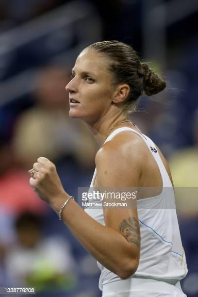 Karolina Pliskova of Czech Republic celebrates match point against Anastasia Pavlyuchenkova of Russia during her Women's Singles round of 16 match on...