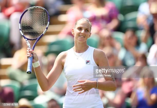 Karolina Pliskova of Czech Republic celebrates Match Point during their Ladies Singles Third Round match against Tereza Martincova of Czech Republic...
