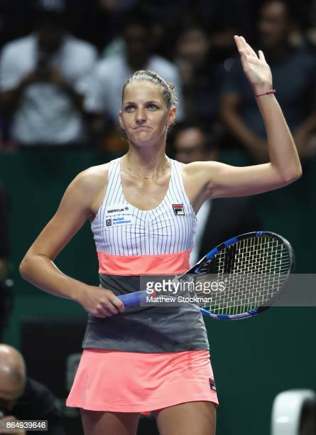 Karolina Pliskova of Czech Republic celebrates victory in her singles match against Venus Williams of the United States during day 1 of the BNP...