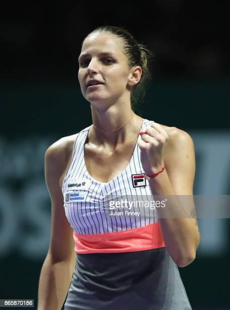 Karolina Pliskova of Czech Republic celebrates victory in her singles match against Garbine Muguruza of Spain during day 3 of the BNP Paribas WTA...