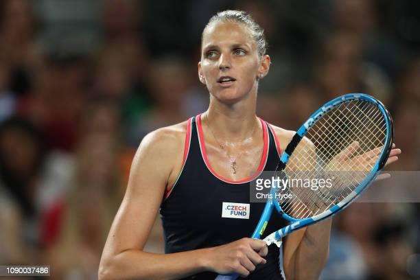 Karolina Pliskova of Czech Republic celebrates winning her semi final match against Donna Vekic of Croatia during the 2019 Brisbane International at...