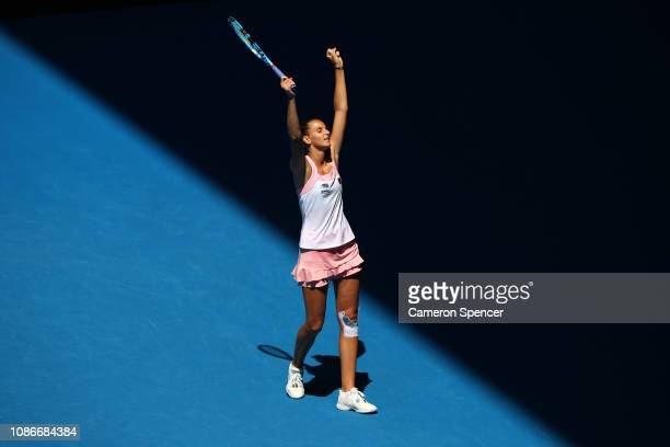 Karolina Pliskova of Czech Republic celebrates winning match point in her quarter final match against Serena Williams of the United States during day...