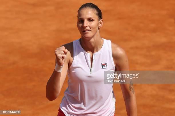 Karolina Pliskova of Czech Republic celebrates winning match point during her semi-final match with Petra Martic of Croatia on Day Eight of the...