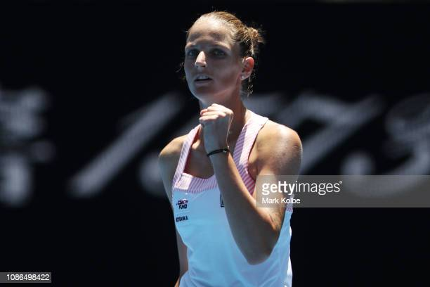 Karolina Pliskova of Czech Republic celebrates winning set point in her quarter final match against Serena Williams of the United States during day...