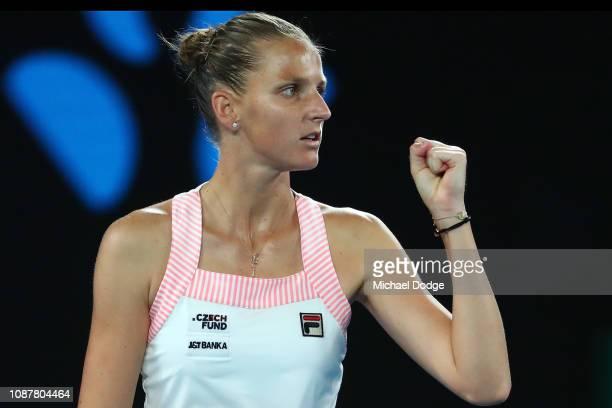 Karolina Pliskova of Czech Republic celebrates winning the second set in her Women's Semi Final match against Naomi Osaka of Japan during day 11 of...