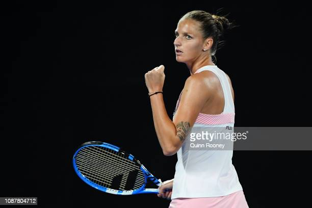 Karolina Pliskova of Czech Republic celebrates winning the second set in her Women's Semi Final match against Naomi Osaka of Japan during day 11 of...