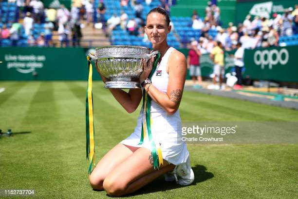 Karolina Pliskova of Czech Republic celebrates with the cup after winning the women's singles final against Angelique Kerber of Germany during day...