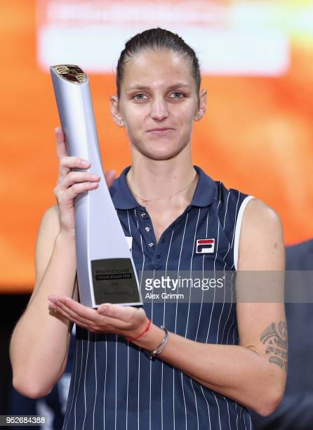 Karolina Pliskova of Czech Republic celebrates with the trophy after winning the singles final match against CoCo Vandeweghe of the United States on...