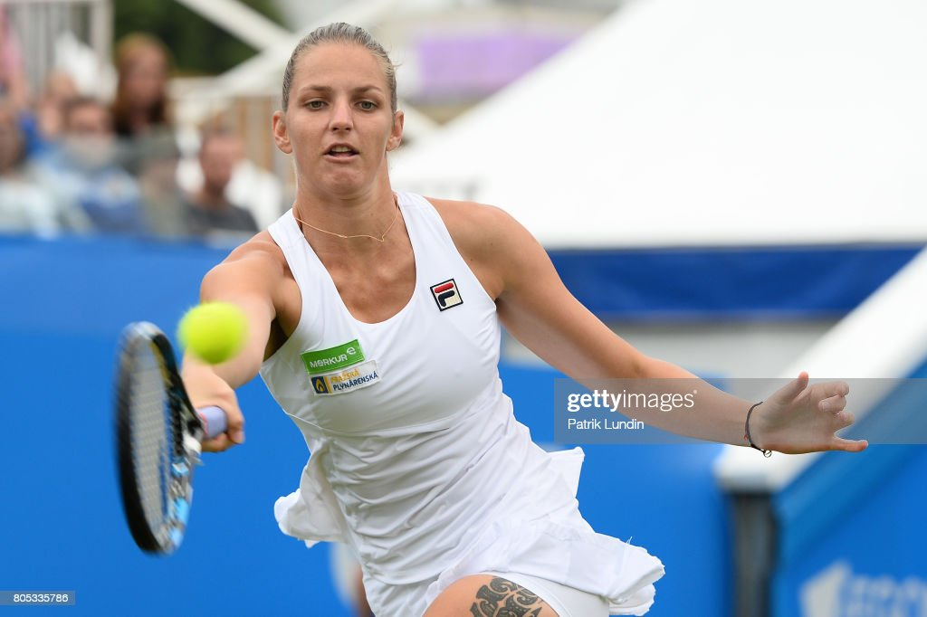 Karolina Pliskova of Czech Republic hits a forehand during the Final match against Caroline Wozniacki of Denmarkon day seven on July 1, 2017 in Eastbourne, England.