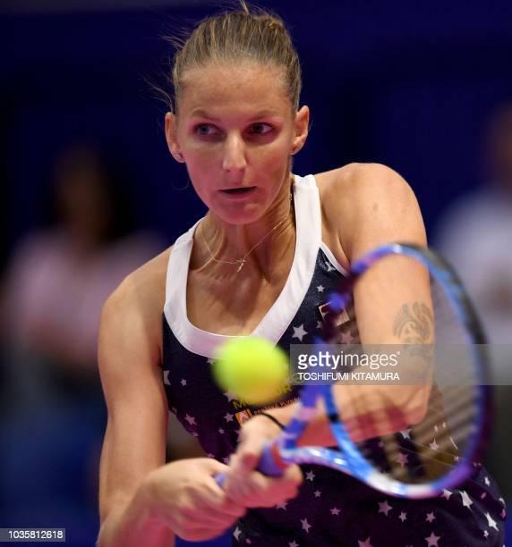 Karolina Pliskova of Czech Republic hits a return against Daria Gavrilova of Australia during their women's singles second round match at the Pan...